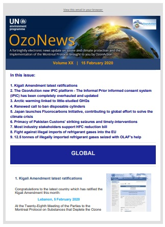 OzoNews, Volume XX, 15 February 2020 issue