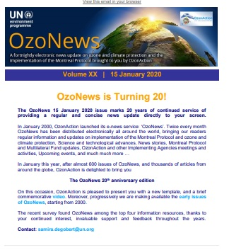 OzoNews, Volume XX, 15 January 2020 issue