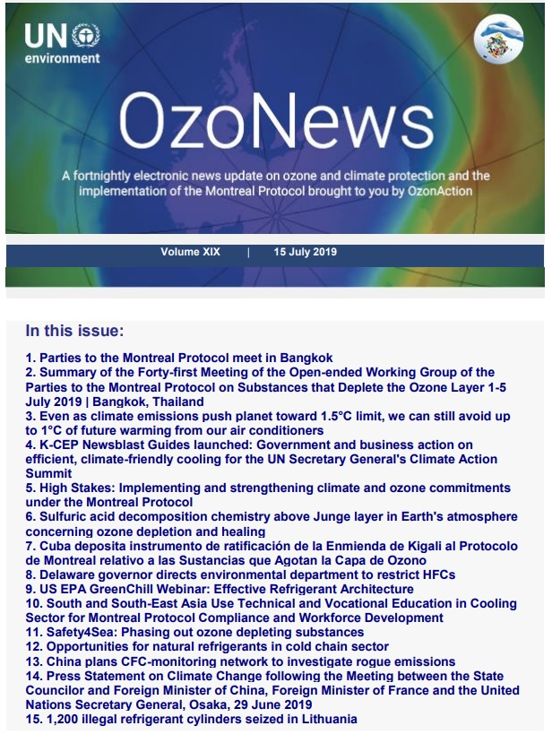 OzoNews, Volume XIX, 15 July 2019 issue