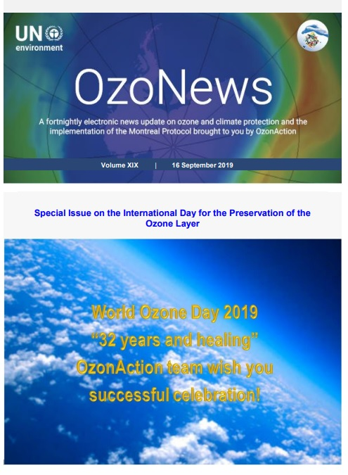 OzoNews, Volume XIX, 16 September 2019. Special Issue on the International Day for the Preservation of the Ozone Layer