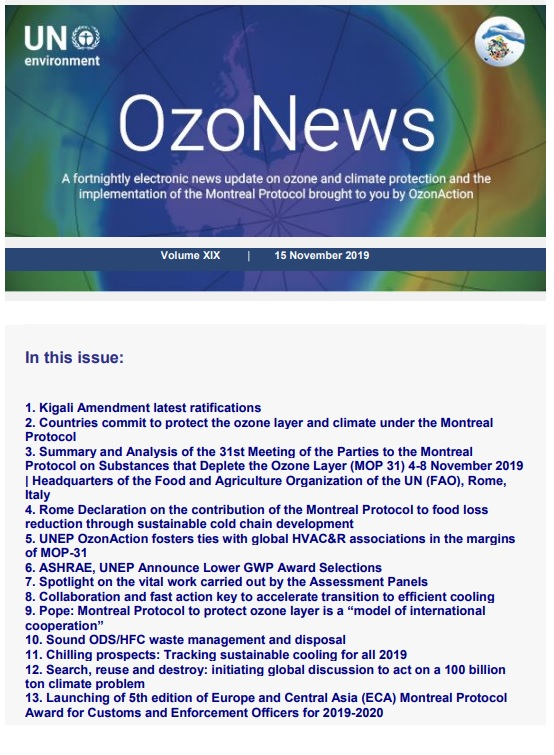 OzoNews, Volume XIX, 15 November 2019 issue